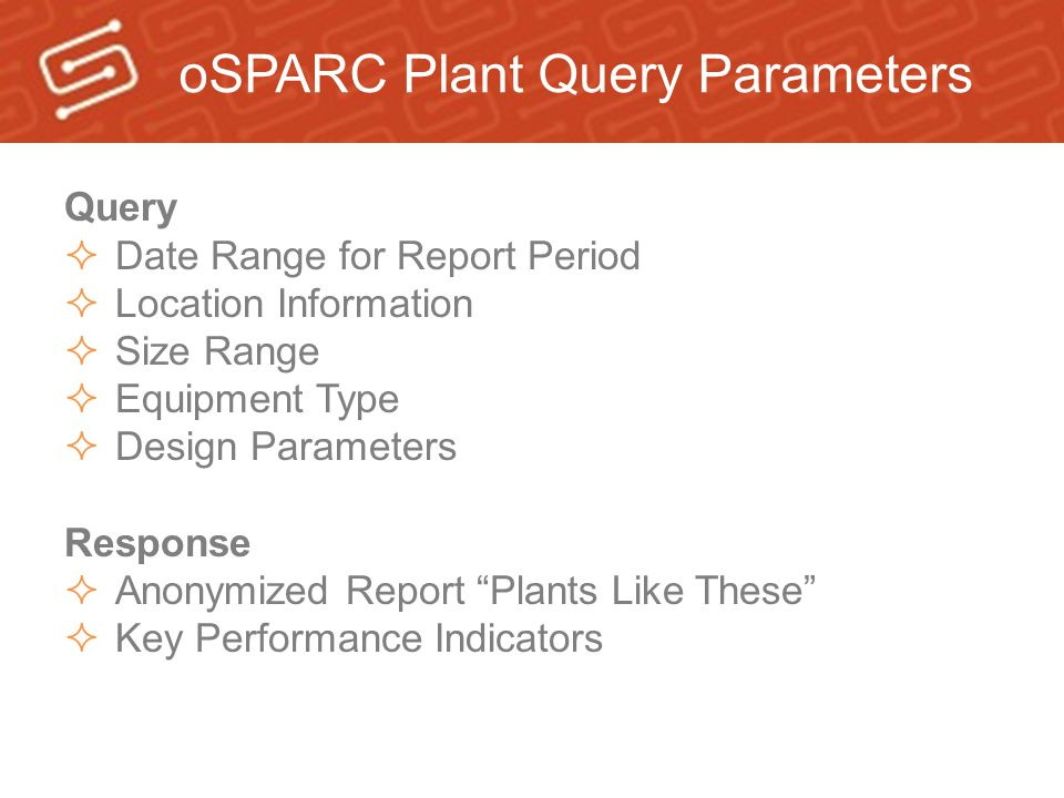 oSPARC Plant Query Parameters Query  Date Range for Report Period  Location Information  Size Range  Equipment Type  Design Parameters Response  Anonymized Report Plants Like These  Key Performance Indicators