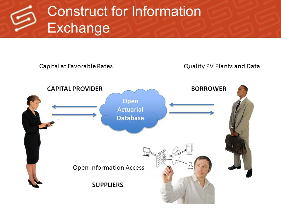Construct for Information Exchange Capital at Favorable RatesQuality PV Plants and Data Open Actuarial Database CAPITAL PROVIDERBORROWER SUPPLIERS Open Information Access