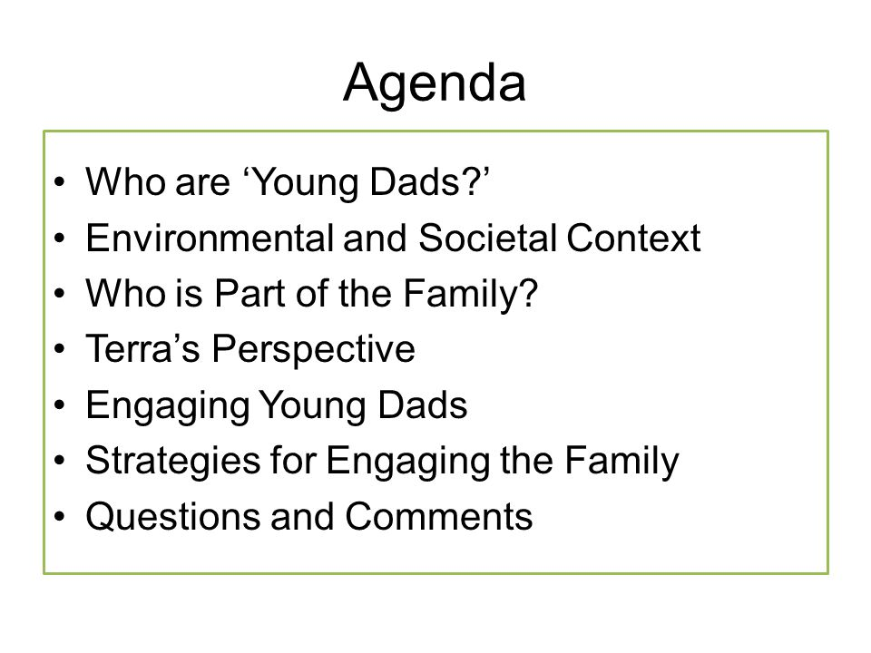 Agenda Who are 'Young Dads?' Environmental and Societal Context Who is Part of the Family? Terra's Perspective Engaging Young Dads Strategies for Enga