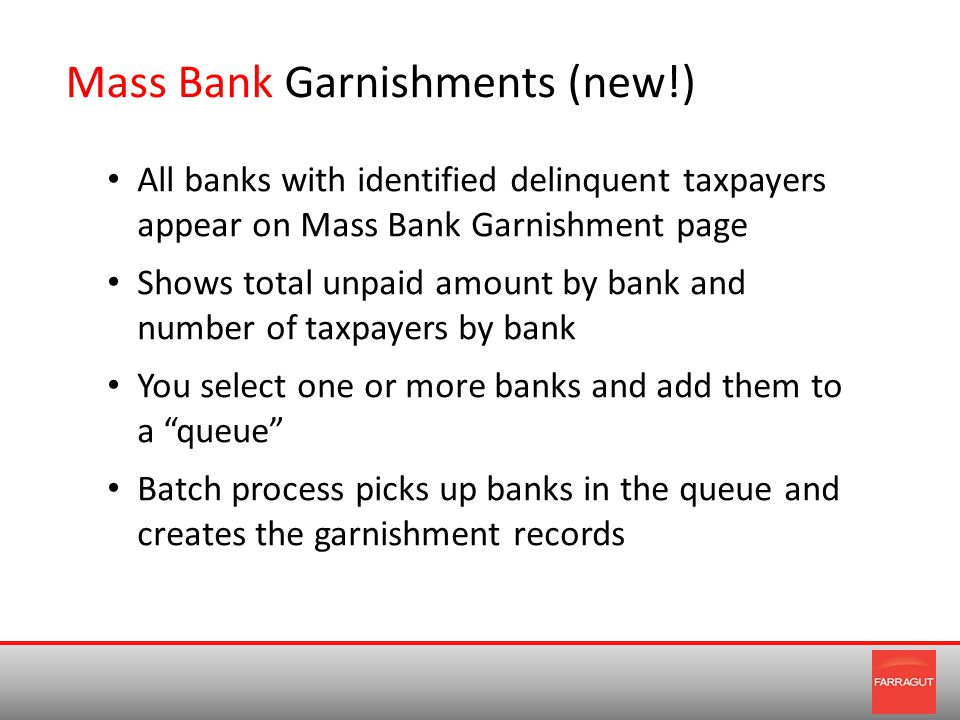 Mass Bank Garnishments (new!) All banks with identified delinquent taxpayers appear on Mass Bank Garnishment page Shows total unpaid amount by bank and number of taxpayers by bank You select one or more banks and add them to a queue Batch process picks up banks in the queue and creates the garnishment records