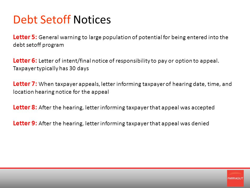 Debt Setoff Notices Letter 5: General warning to large population of potential for being entered into the debt setoff program Letter 6: Letter of intent/final notice of responsibility to pay or option to appeal.