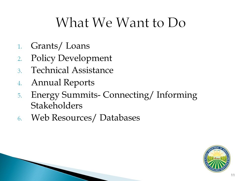 1. Grants/ Loans 2. Policy Development 3. Technical Assistance 4.