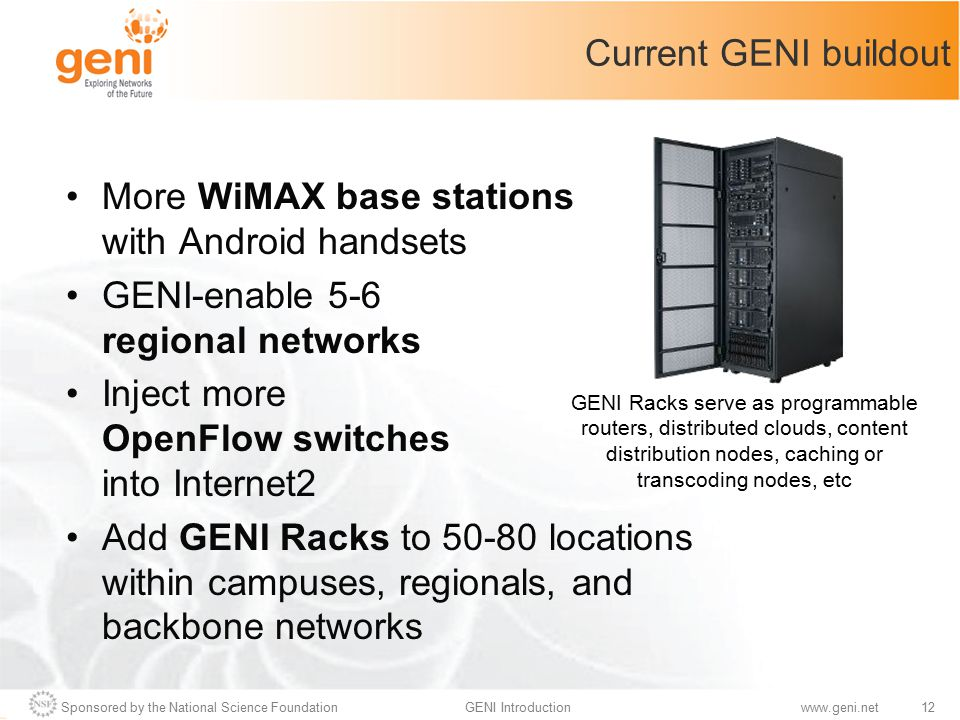 Sponsored by the National Science Foundation12GENI Introductionwww.geni.net Current GENI buildout More WiMAX base stations with Android handsets GENI-