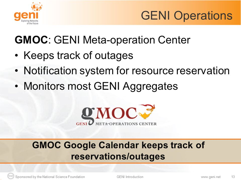 Sponsored by the National Science Foundation13GENI Introductionwww.geni.net GENI Operations GMOC: GENI Meta-operation Center Keeps track of outages No
