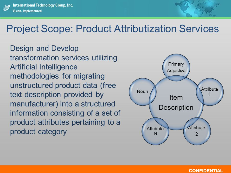 CONFIDENTIAL Design and Develop transformation services utilizing Artificial Intelligence methodologies for migrating unstructured product data (free text description provided by manufacturer) into a structured information consisting of a set of product attributes pertaining to a product category Project Scope: Product Attributization Services Item Description Primary Adjective Attribute 1 Attribute 2 Attribute N Noun