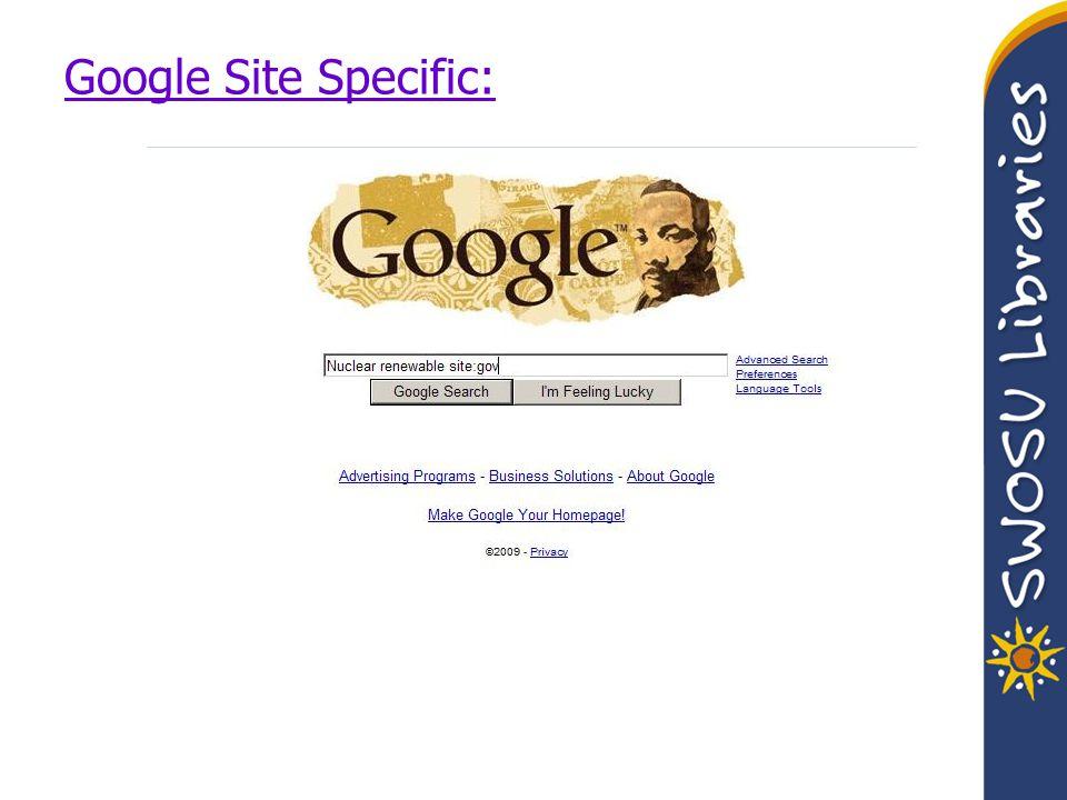 Google Site Specific: