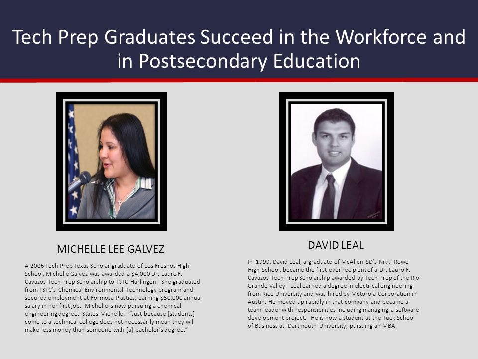 Tech Prep Graduates Succeed in the Workforce and in Postsecondary Education In 1999, David Leal, a graduate of McAllen ISD's Nikki Rowe High School, b
