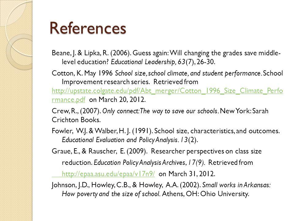 References Beane, J.& Lipka, R. (2006).