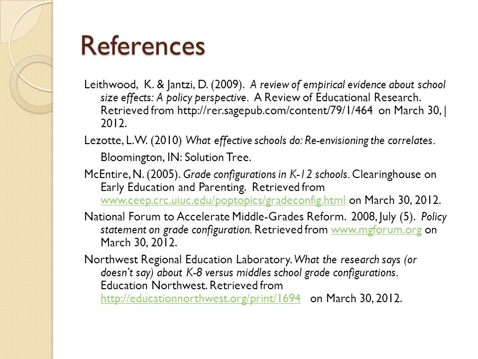 References Leithwood, K. & Jantzi, D. (2009).