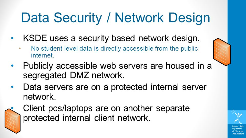 Kansas State Department of Education www.ksde.org KSDE uses a security based network design. No student level data is directly accessible from the pub