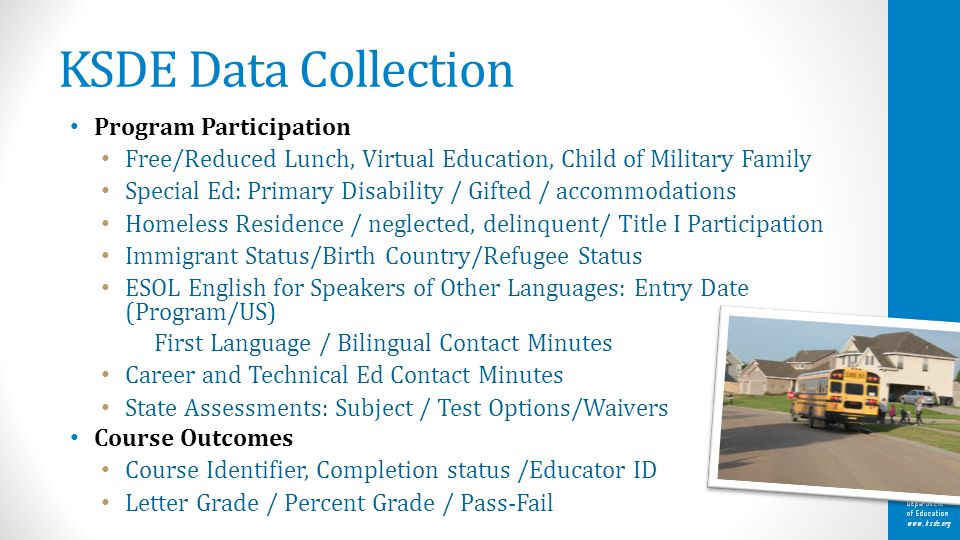 Kansas State Department of Education www.ksde.org KSDE Data Collection Program Participation Free/Reduced Lunch, Virtual Education, Child of Military