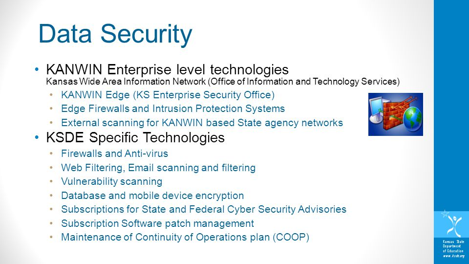 Kansas State Department of Education www.ksde.org KANWIN Enterprise level technologies Kansas Wide Area Information Network (Office of Information and Technology Services) KANWIN Edge (KS Enterprise Security Office) Edge Firewalls and Intrusion Protection Systems External scanning for KANWIN based State agency networks KSDE Specific Technologies Firewalls and Anti-virus Web Filtering, Email scanning and filtering Vulnerability scanning Database and mobile device encryption Subscriptions for State and Federal Cyber Security Advisories Subscription Software patch management Maintenance of Continuity of Operations plan (COOP) Data Security