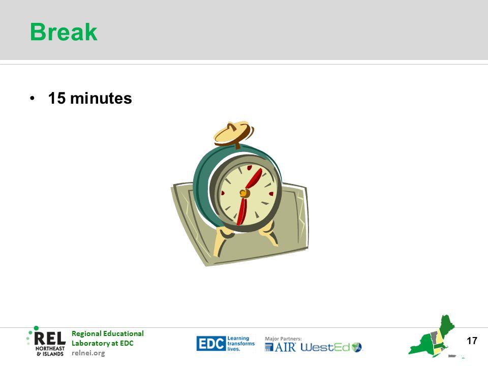 Regional Educational Laboratory at EDC relnei.org Break 15 minutes 17