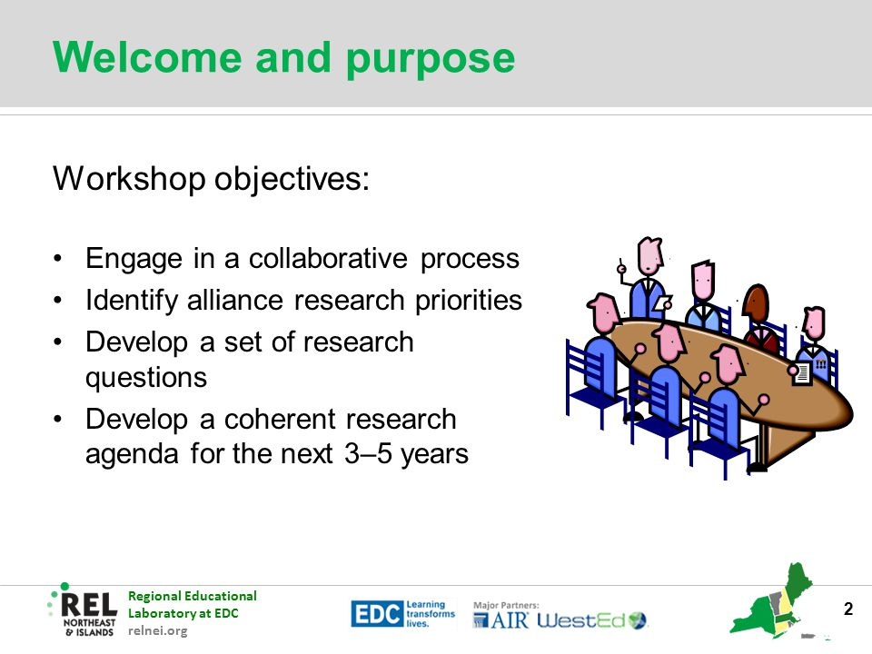 Regional Educational Laboratory at EDC relnei.org Welcome and purpose Workshop objectives: Engage in a collaborative process Identify alliance researc