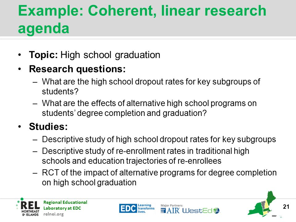 Regional Educational Laboratory at EDC relnei.org Example: Coherent, linear research agenda Topic: High school graduation Research questions: –What ar