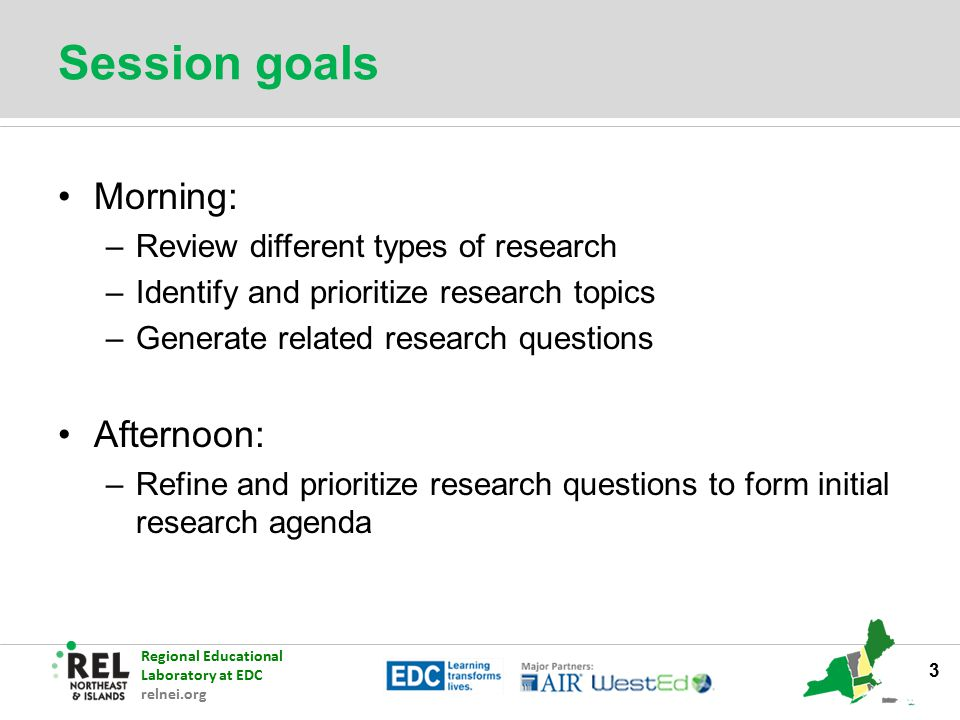 Regional Educational Laboratory at EDC relnei.org Session goals Morning: –Review different types of research –Identify and prioritize research topics