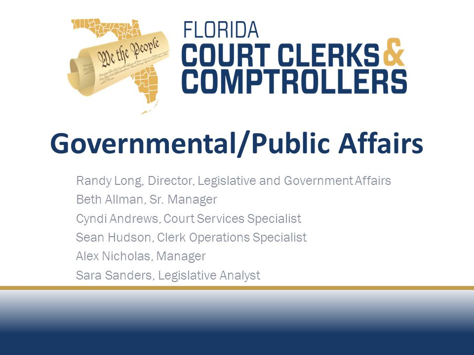 Governmental/Public Affairs Best Practices Statutory Reporting Distribution and Workflow Member Information Program Chief Deputy and Legal Counsel Roundtable Advisories, E-News, Alerts and Surveys Association Websites and Public Information Information Clearinghouse