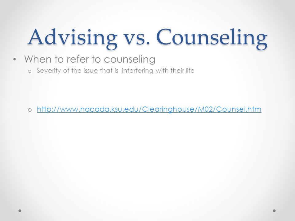 Advising vs.