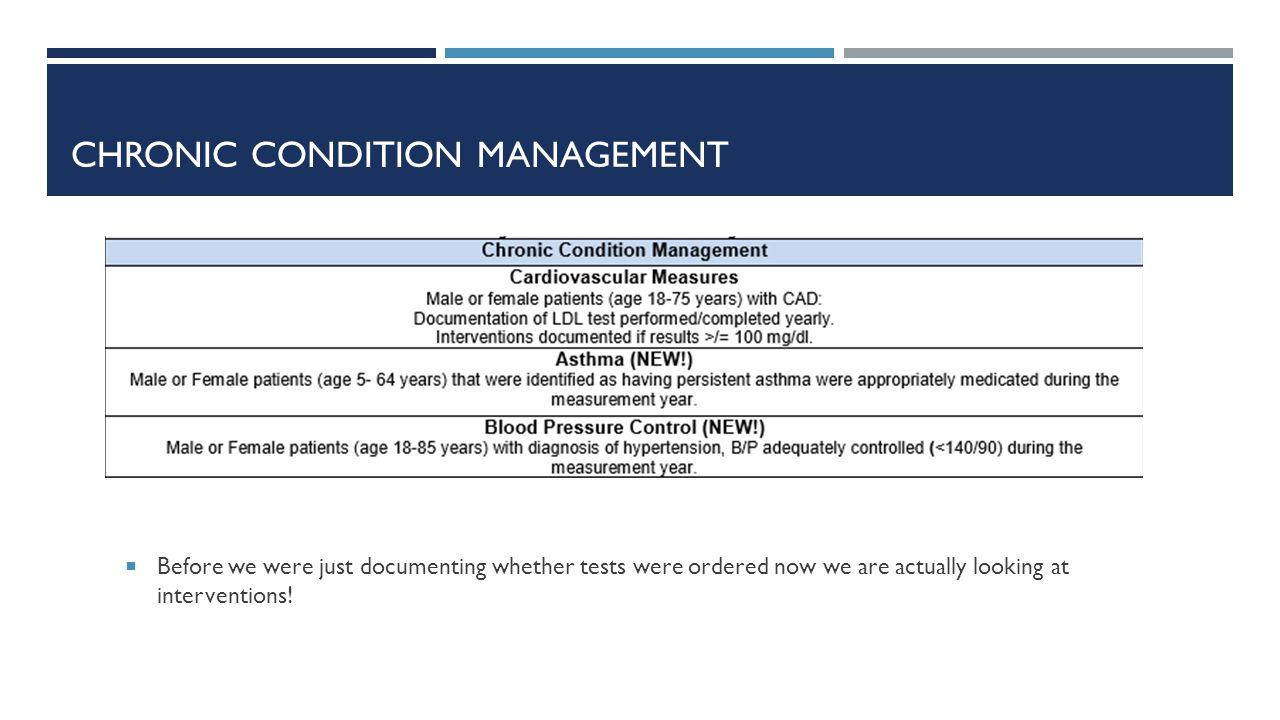 CHRONIC CONDITION MANAGEMENT  Before we were just documenting whether tests were ordered now we are actually looking at interventions!