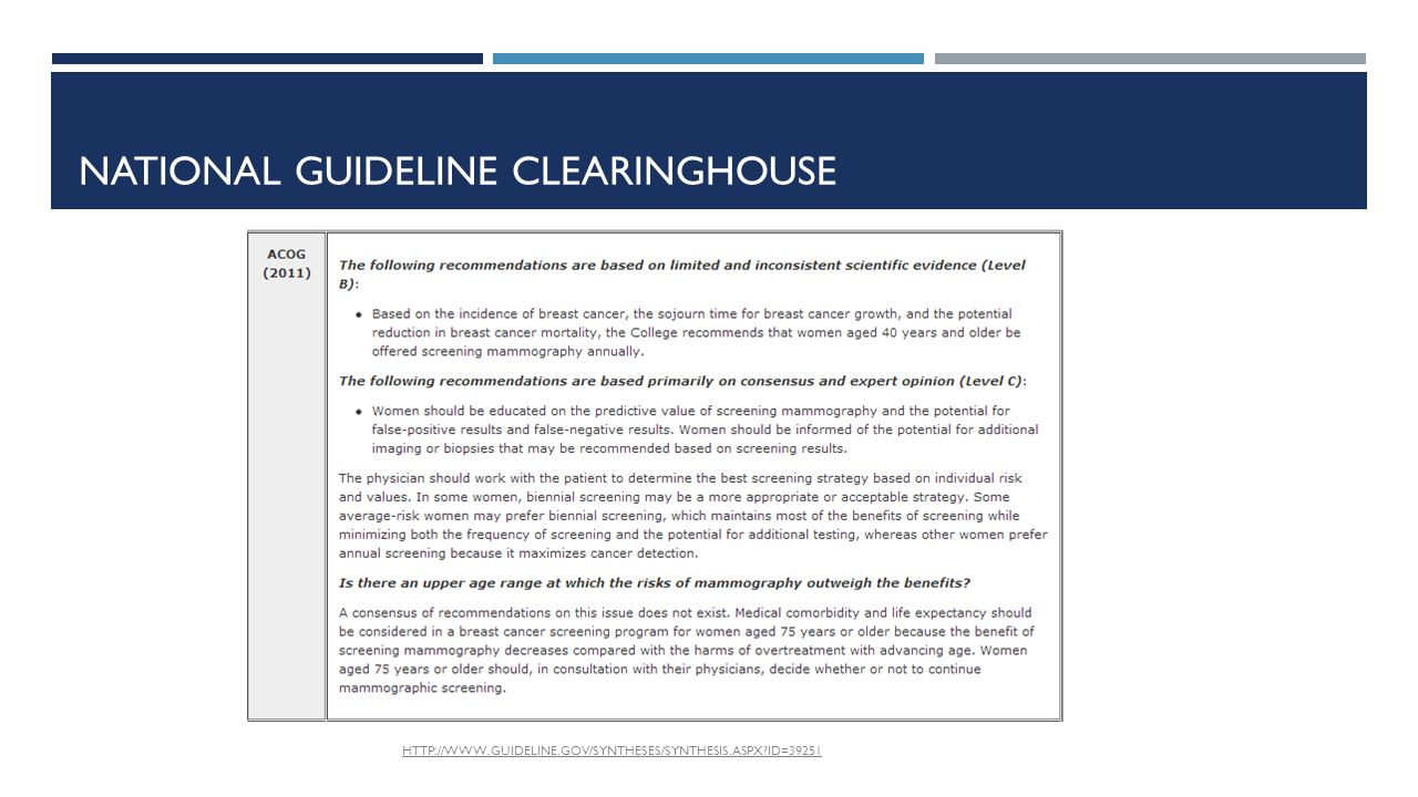 NATIONAL GUIDELINE CLEARINGHOUSE HTTP://WWW.GUIDELINE.GOV/SYNTHESES/SYNTHESIS.ASPX ID=39251