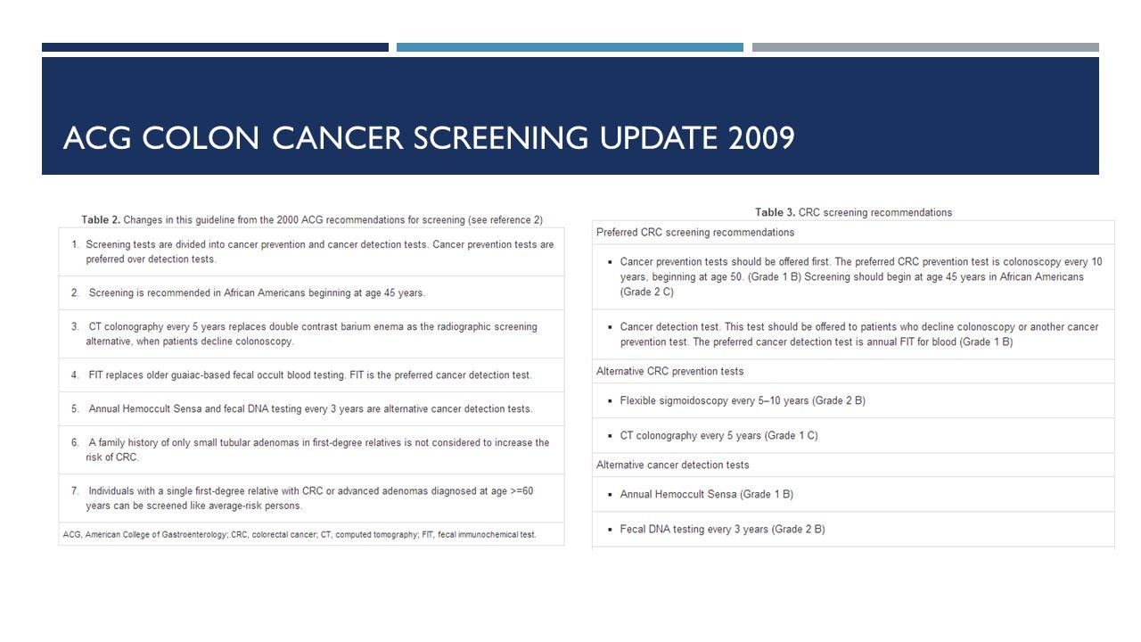 ACG COLON CANCER SCREENING UPDATE 2009