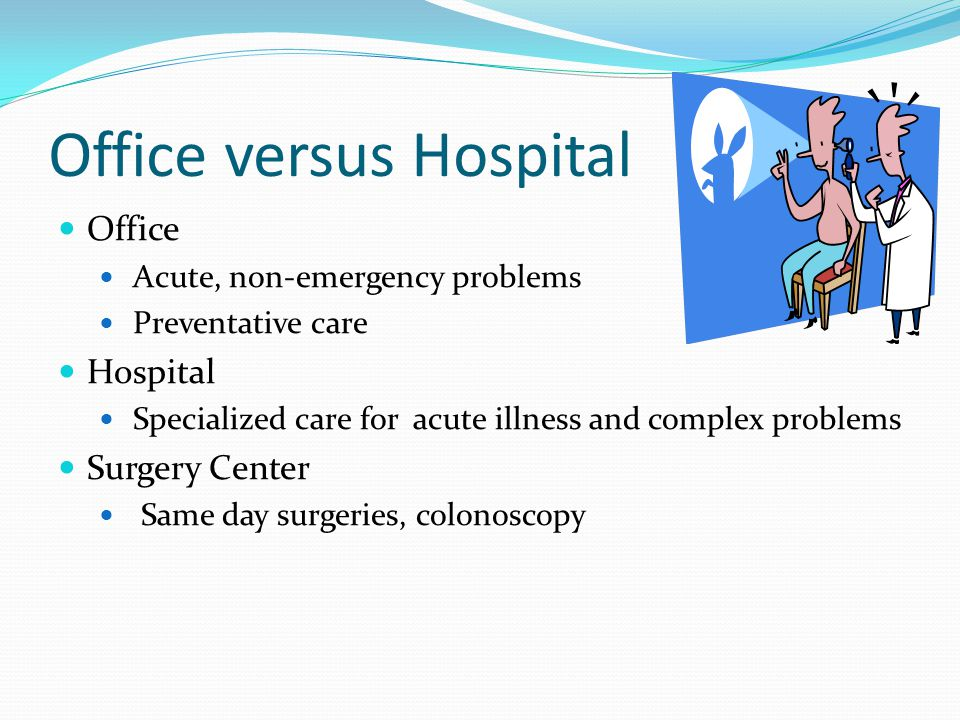 Office versus Hospital Office Acute, non-emergency problems Preventative care Hospital Specialized care for acute illness and complex problems Surgery Center Same day surgeries, colonoscopy