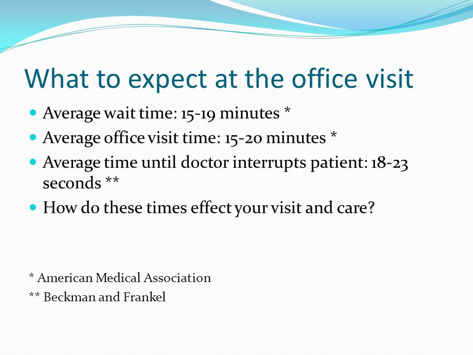 What to expect at the office visit Average wait time: 15-19 minutes * Average office visit time: 15-20 minutes * Average time until doctor interrupts patient: 18-23 seconds ** How do these times effect your visit and care.