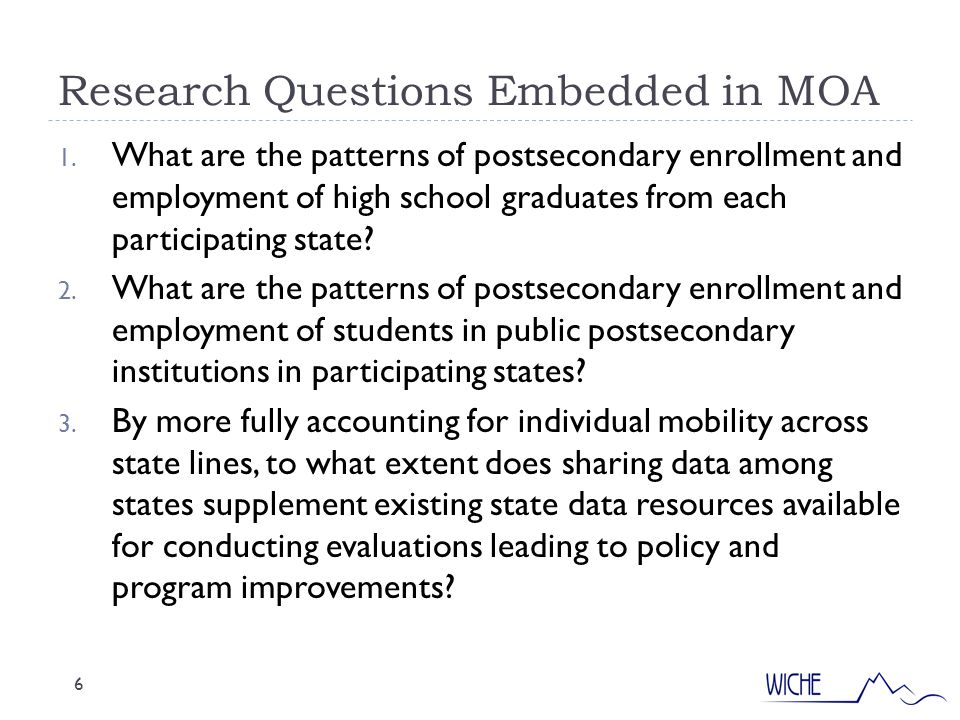 Research Questions Embedded in MOA 6 1.