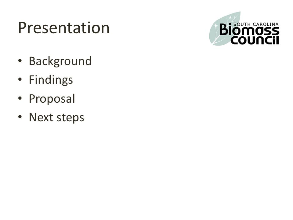Presentation Background Findings Proposal Next steps