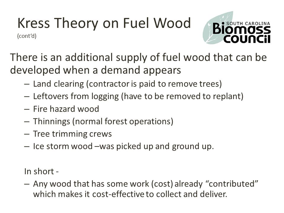 Wood products http://www.forest2market.com/blog/dispelling-the-whole-tree-myth-how-a-harvested-tree-is-used http://www.state.sc.us/forest/lecom.htmhttp://www.state.sc.us/forest/lecom.htm, modified Best Use (Product) by Tree Diameter Veneer – 16 + Diam BH Sawtimber – 14 + DBH Chip-n-saw – 10-13 DBH Pulpwood chips – 6-9 DBH - must be clean of bark, clean chips Fuel wood chips – 6 or less, bark, needles and small limbs allowed, dirty chips Grindings – anything woody or leftover that can be ground