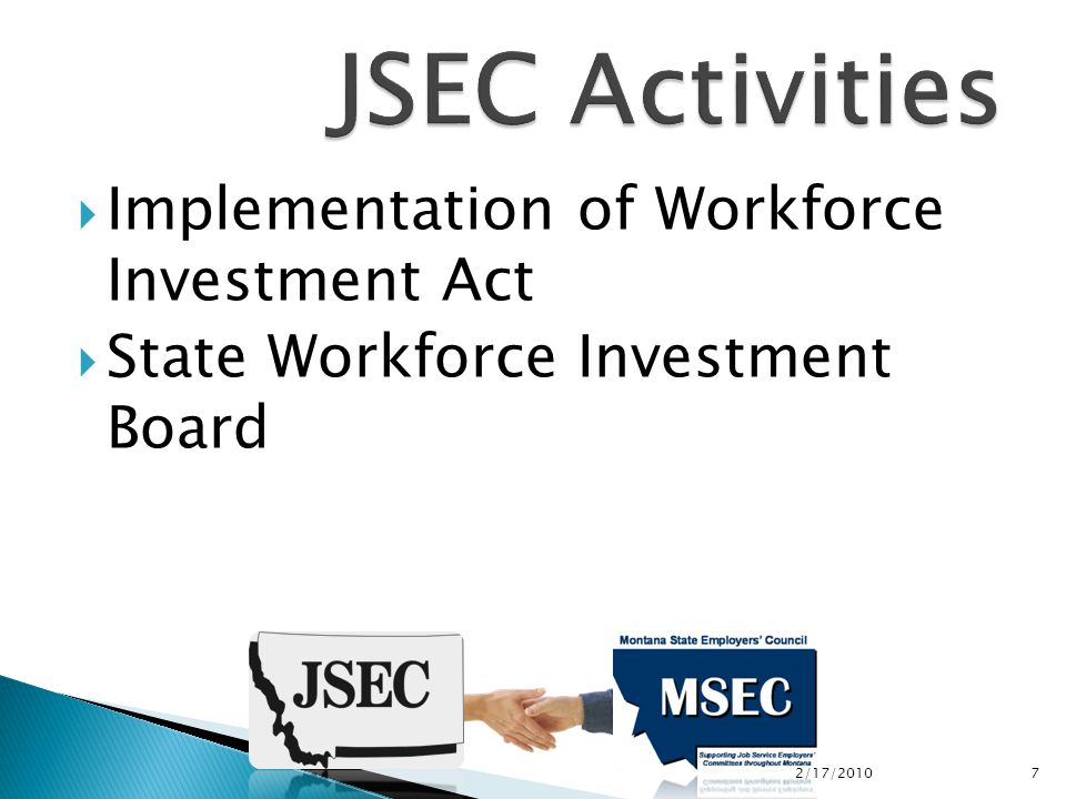  Implementation of Workforce Investment Act  State Workforce Investment Board 2/17/2010 7