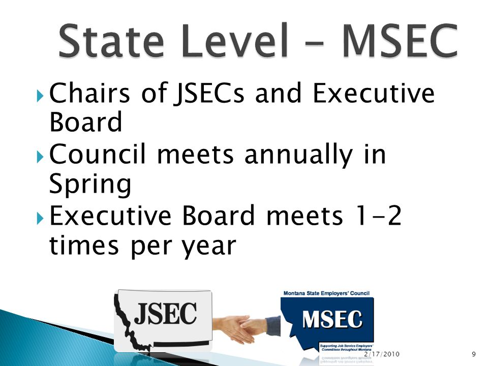  Chairs of JSECs and Executive Board  Council meets annually in Spring  Executive Board meets 1-2 times per year 2/17/2010 9