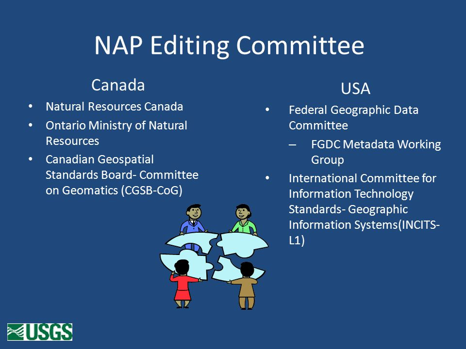 NAP Editing Committee Canada Natural Resources Canada Ontario Ministry of Natural Resources Canadian Geospatial Standards Board- Committee on Geomatics (CGSB-CoG) USA Federal Geographic Data Committee – FGDC Metadata Working Group International Committee for Information Technology Standards- Geographic Information Systems(INCITS- L1)