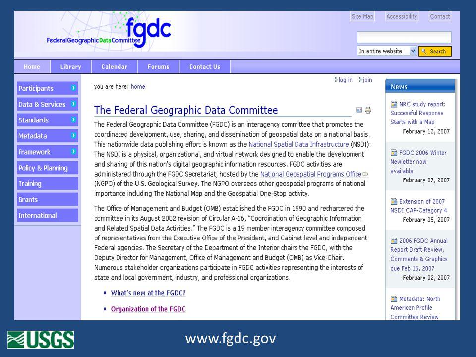 FGDC.gov home page www.fgdc.gov