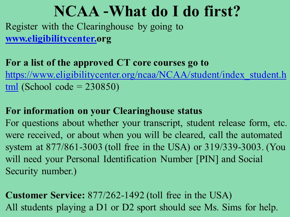 NCAA - What do I do first.