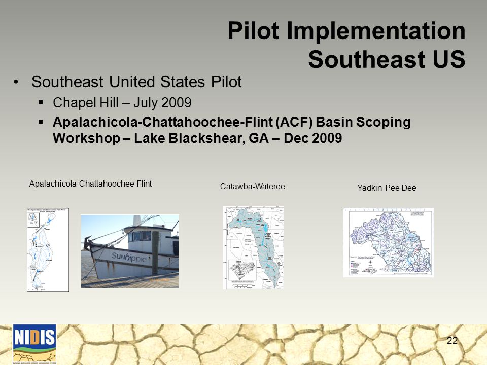 Southeast United States Pilot  Chapel Hill – July 2009  Apalachicola-Chattahoochee-Flint (ACF) Basin Scoping Workshop – Lake Blackshear, GA – Dec 2009 22 Pilot Implementation Southeast US Apalachicola-Chattahoochee-Flint Catawba-Wateree Yadkin-Pee Dee