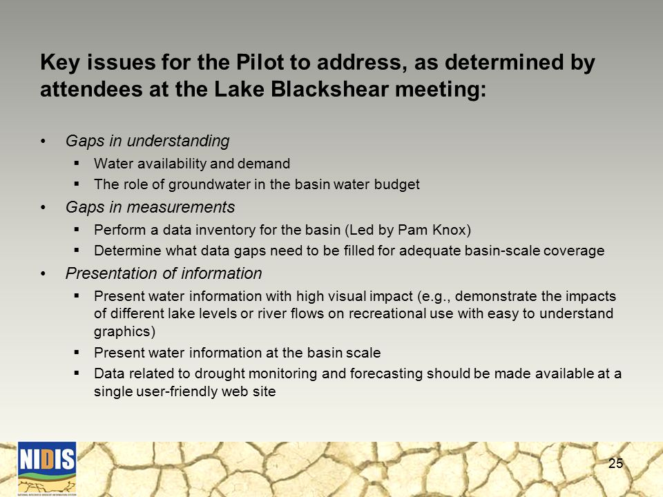 Key issues for the Pilot to address, as determined by attendees at the Lake Blackshear meeting: Gaps in understanding  Water availability and demand  The role of groundwater in the basin water budget Gaps in measurements  Perform a data inventory for the basin (Led by Pam Knox)  Determine what data gaps need to be filled for adequate basin-scale coverage Presentation of information  Present water information with high visual impact (e.g., demonstrate the impacts of different lake levels or river flows on recreational use with easy to understand graphics)  Present water information at the basin scale  Data related to drought monitoring and forecasting should be made available at a single user-friendly web site 25