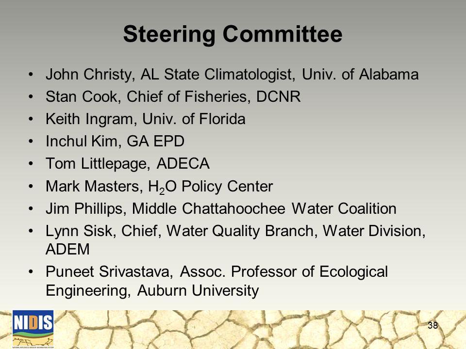 Steering Committee John Christy, AL State Climatologist, Univ.