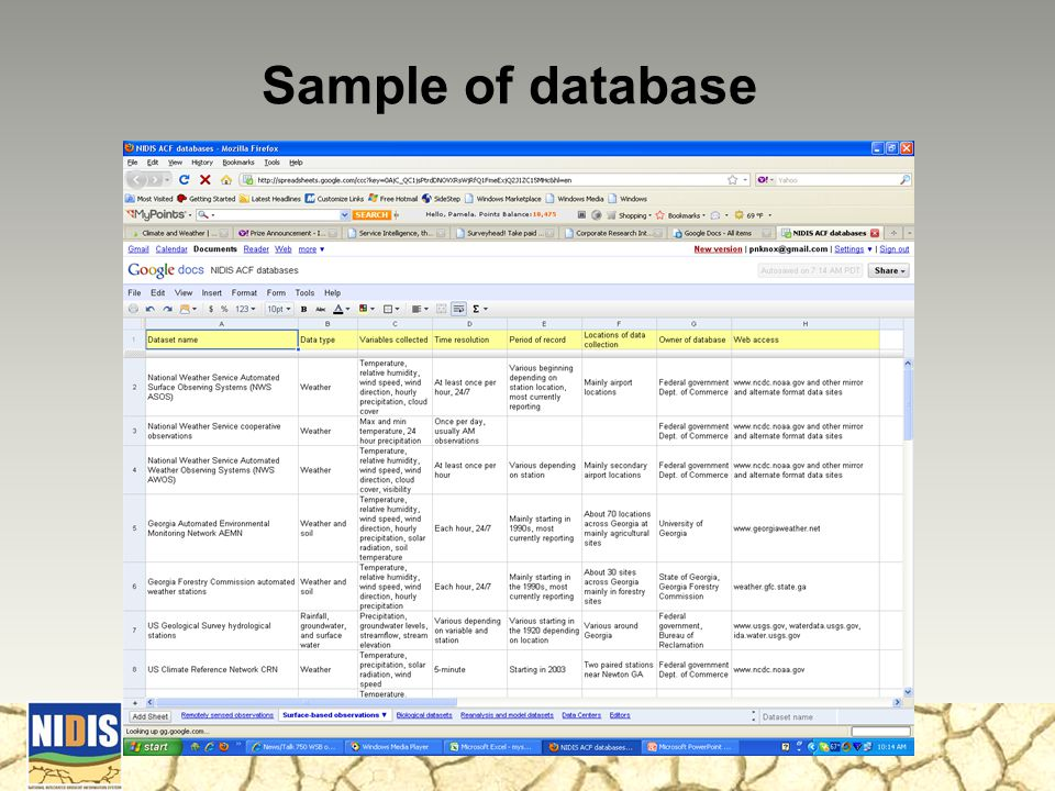 Sample of database