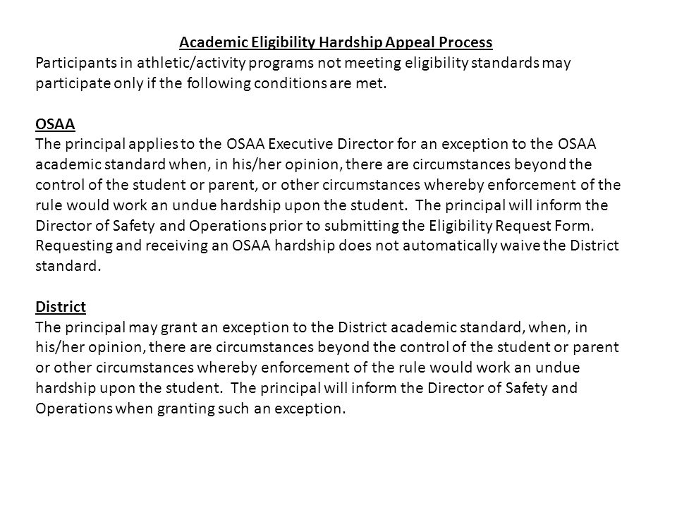 Academic Eligibility Hardship Appeal Process Participants in athletic/activity programs not meeting eligibility standards may participate only if the