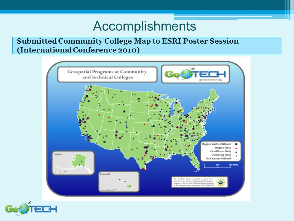 Accomplishments Submitted Community College Map to ESRI Poster Session (International Conference 2010)