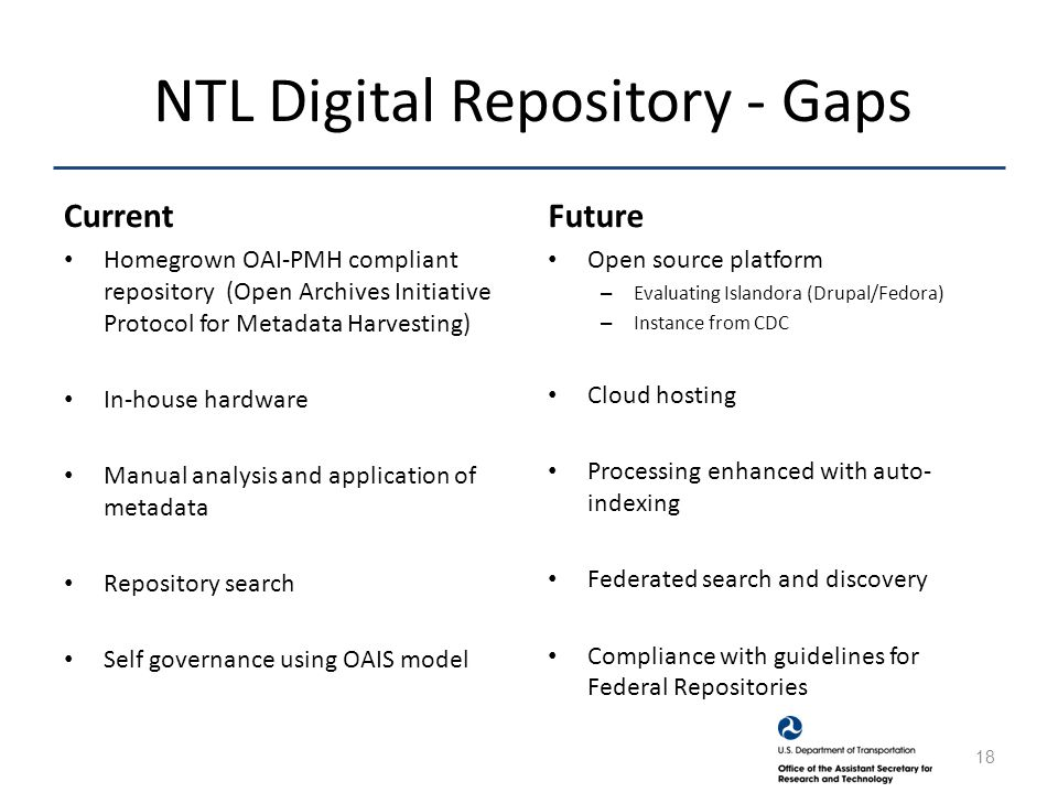 NTL Digital Repository - Gaps Current Homegrown OAI-PMH compliant repository (Open Archives Initiative Protocol for Metadata Harvesting) In-house hardware Manual analysis and application of metadata Repository search Self governance using OAIS model Future Open source platform – Evaluating Islandora (Drupal/Fedora) – Instance from CDC Cloud hosting Processing enhanced with auto- indexing Federated search and discovery Compliance with guidelines for Federal Repositories 18