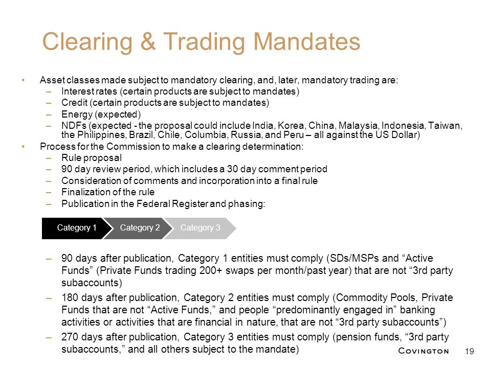 Asset classes made subject to mandatory clearing, and, later, mandatory trading are: –Interest rates (certain products are subject to mandates) –Credi