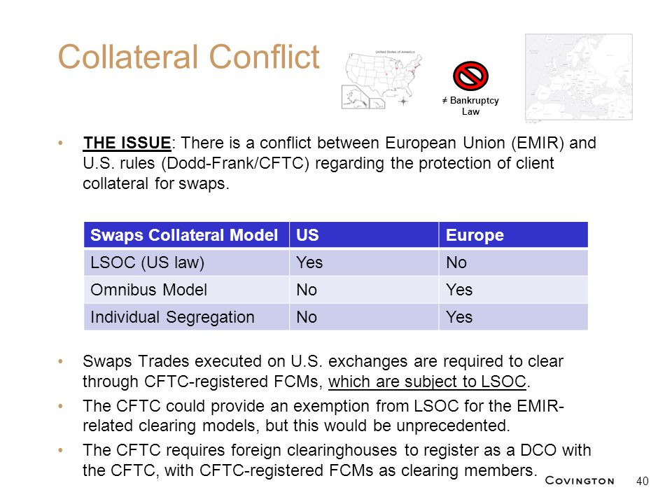 Collateral Conflict THE ISSUE: There is a conflict between European Union (EMIR) and U.S. rules (Dodd-Frank/CFTC) regarding the protection of client c