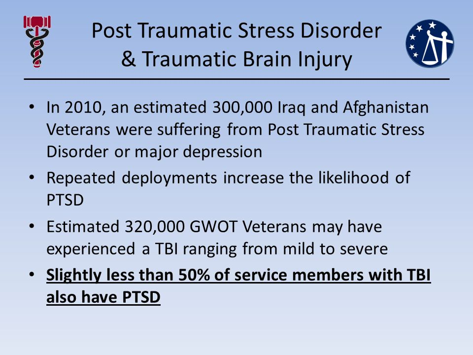 Post Traumatic Stress Disorder & Traumatic Brain Injury In 2010, an estimated 300,000 Iraq and Afghanistan Veterans were suffering from Post Traumatic Stress Disorder or major depression Repeated deployments increase the likelihood of PTSD Estimated 320,000 GWOT Veterans may have experienced a TBI ranging from mild to severe Slightly less than 50% of service members with TBI also have PTSD