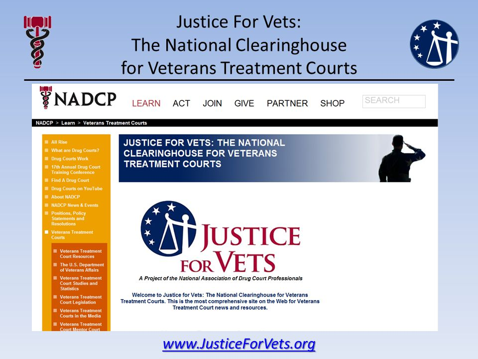 Justice For Vets: The National Clearinghouse for Veterans Treatment Courts www.JusticeForVets.org