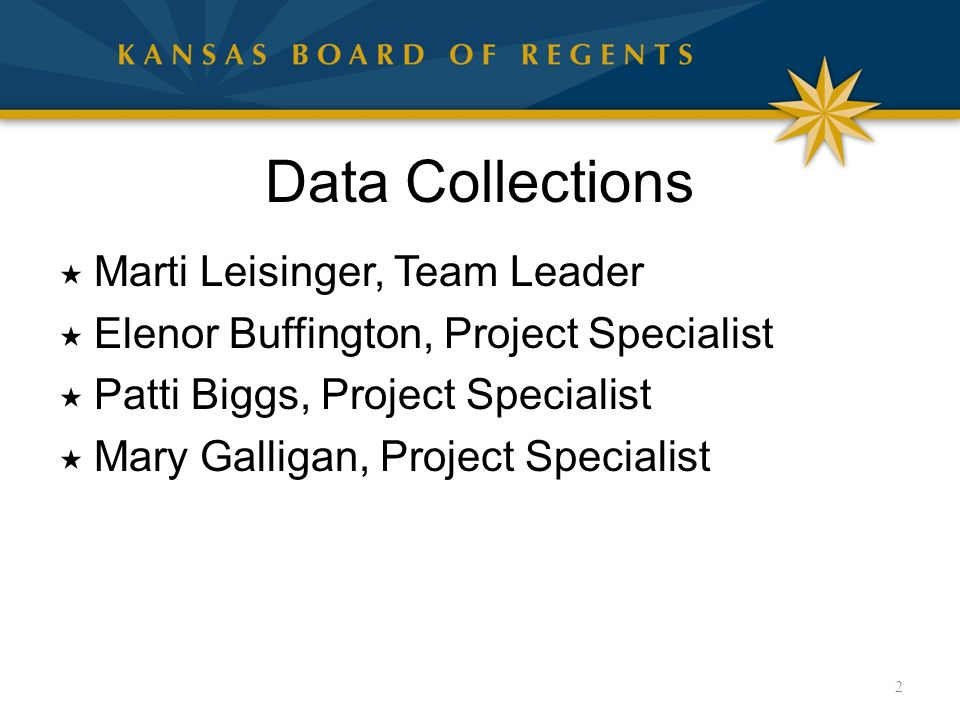 Data Collections  Marti Leisinger, Team Leader  Elenor Buffington, Project Specialist  Patti Biggs, Project Specialist  Mary Galligan, Project Specialist 2