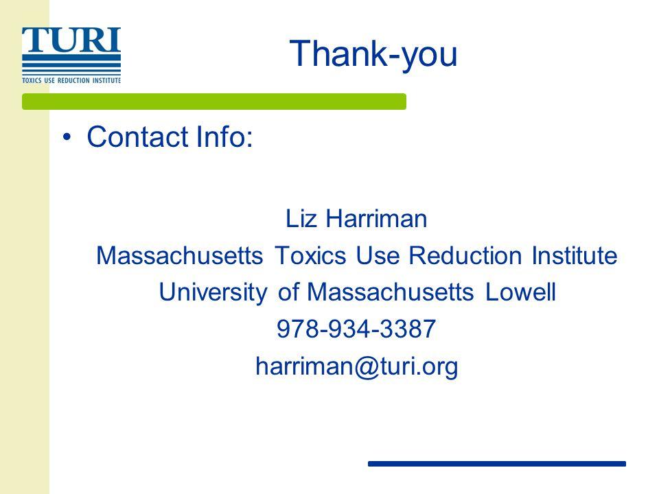 Thank-you Contact Info: Liz Harriman Massachusetts Toxics Use Reduction Institute University of Massachusetts Lowell 978-934-3387 harriman@turi.org