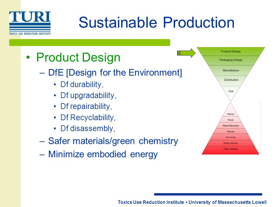 Toxics Use Reduction Institute University of Massachusetts Lowell Sustainable Production Product Design –DfE [Design for the Environment] Df durabilit