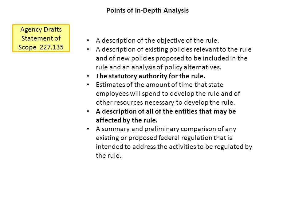 Agency Drafts Statement of Scope 227.135 Points of In-Depth Analysis A description of the objective of the rule.